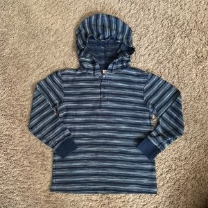 Gymboree Heathered Navy Striped Pullover Hoodie 8